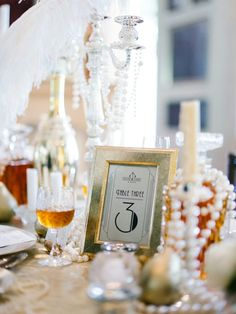 Art deco table numbers. Glamorous Great Gatsby Wedding Inspiration
