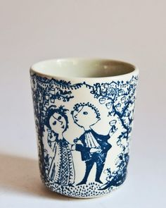 """""""Opera"""" pottery beaker by Bjørn Wiinblad (1918-2006), was a Danish painter, designer and artist in ceramics, silver, bronze, textiles, and graphics..."""