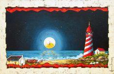 Annette Dannhauser - The Lighthouse x Folk Art, Art Gallery, Canvas Art, Pastel, Lighthouse, Artist, Projects, Buildings, Paintings