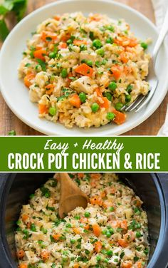 Easy Cheesy Crock Pot Chicken and Rice Casserole. Simple and SO yummy! One of our favorite healthy crockpot meals. Juicy chicken, fresh veggies, and brown rice cooked together in a simple creamy sauce. This easy slow cooker meal is made with real ing Crockpot Chicken Healthy, Crock Pot Healthy, Healthy Slow Cooker, Chicken Crock Pot Meals, Healthy Crockpot Dinners, Healthy Crock Pot Meals, Simple Healthy Meals, Crockpot Lunch, Healthy Food