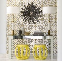 Yellow stools with console table