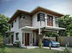 22 designs of facades to inspire you to build your ideal home _build _designs _facades _ideal _insp Modern Zen House, Modern Bungalow, Modern House Plans, Two Story House Design, Small House Design, Modern House Design, Philippines House Design, Residential Building Design, Philippine Houses