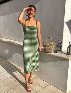 Best And Other Stories Dresses: Penny Goldstone wears a gingham midi from & Other Stories