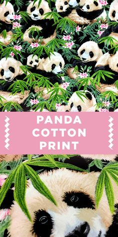 Panda and Floral Cotton Broadcloth Print #Animal #Pattern #Fabric