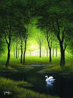 The Swan 24x18 Acrylic on canvas www.rattenburyart.com