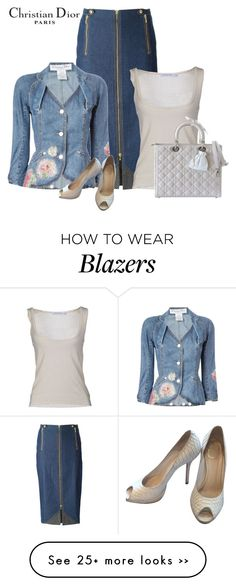 """denim in office- C.D."" by bodangela on Polyvore featuring Christian Dior"