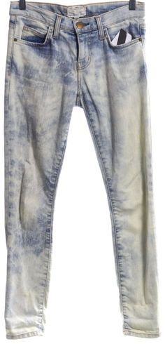 CURRENT ELLIOTT #1280-0206 Blue Acid Washed Skinny Jeans Size 25 #CurrentElliott #SlimSkinny