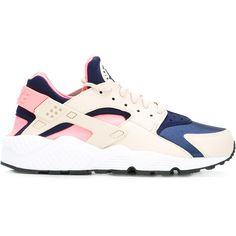 Nike Air Huarache Run sneakers ($127) ❤ liked on Polyvore featuring shoes, sneakers, white, color block sneakers, white sneakers, colorful shoes, lacing sneakers and white trainers
