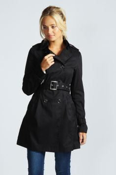 Aimee Military Style Belted Trench Coat at boohoo.com