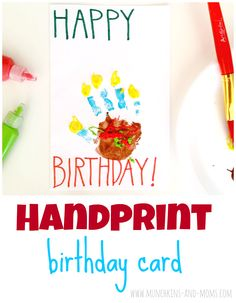Handprint Birthday Cards made to look like a piece of cake!