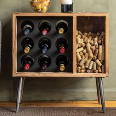 Buy the Cork Catcher Side Table With Wine Rack at Wine Enthusiast – we are your ultimate destination for wine storage, wine accessories, gifts and more! Wine Rack Inspiration, Modern Wine Rack, Unique Wine Racks, Wine Rack Design, Flat Shapes, Wine Bottle Crafts, Wine Bottles, Wine Decanter, Wine Glass