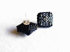 Beaded Square Stud Earrings in Shades of Grey by Beadwork & Coe