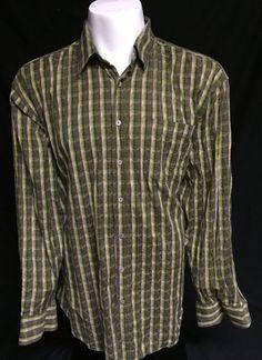 Bugatchi Uomo Green Pink Striped XXL Long Sleeve Button Front Shirt 2XL #BugatchiUomo #ButtonFront
