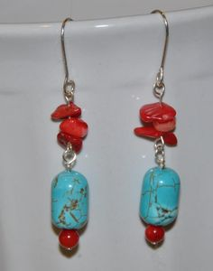 ladies earrings turquoise and stone chips coral. by JunrylGems