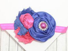 Blue Pink Headband, Blue Flower, Pink Flower, Elastic Headband, Flower Headband, Baby Headband, Photo Prop, Hair Accessory, Shabby Rose