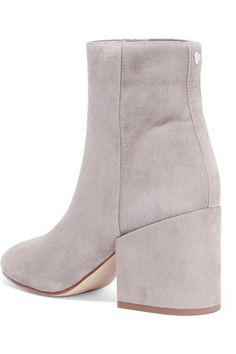 Heel measures approxiamtely 75mm/ 3 inches Gray suede Zip fastening along side