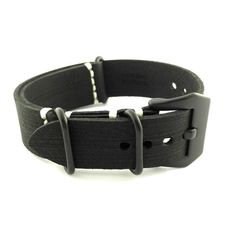 Classic Black Crazy Horse Leather ZULU Watch Strap (Black PVD, 20mm, 22mm) #CozyAccessories