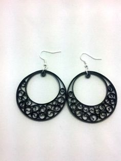 Paper Quilling Black Earrings  big by SweetheartsandCrafts on Etsy