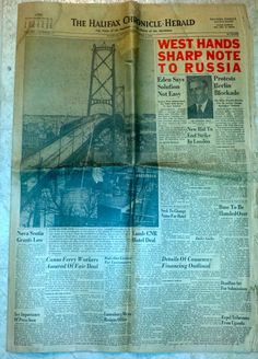 Angus L. Macdonald Bridge Opening Chronicle Herald Newspaper Apr 1, 1955 Halifax