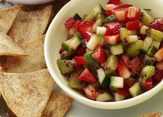 Eckert's Country Store & Farms: Strawberry Salsa with Cinnamon Crisps