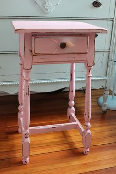 Shabby Chic Vintage Nightstand Pink White by VintageChicFurniture