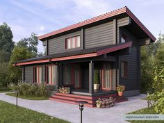 Home Building Design, Building A House, Brick Flooring, Roof Design, Small House Design, Little Houses, Traditional House, Tiny House, House Plans