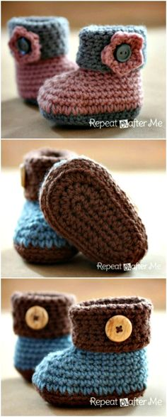 Free Crochet Cuffed Baby Booties Pattern - 101 Free Crochet Patterns For Beginners That Are Super Easy - DIY & Crafts