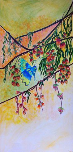 """Peinture nature florale et papillon acrylique sur papier  """"Tutti frutti"""" de la boutique Lumeline sur Etsy"""