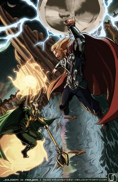 Another fun one for Hope you guys dig! Thor & Loki is property of Marvel Comics and Paramount Commission- Thor VS Loki Asgard Marvel, Marvel Fan, Marvel Dc Comics, Loki Thor, Loki Laufeyson, Avengers Characters, The Mighty Thor, Norse Mythology, Comic Book Artists