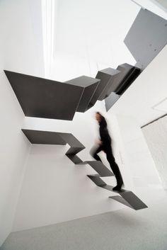 folded black steel stairs
