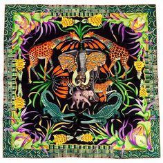 6d30386ae51 NWB Hermes La Marche du Zambeze Silk Twill Scarf by Ardmore Artists