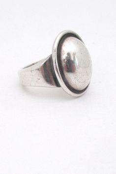 Hans Hansen, Denmark - vintage large silver cabochon ring #Denmark #ring