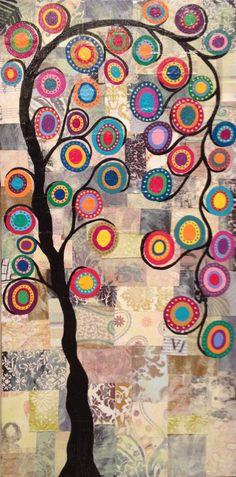 Original Mexican Folk Art Painting Festive Quilt Tree of Life KERRI AMBROSINO