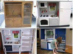 Super cool kids play kitchen! http://www.dumpaday.com/genius-ideas-2/simple-ideas-borderline-crafty-31-pics/