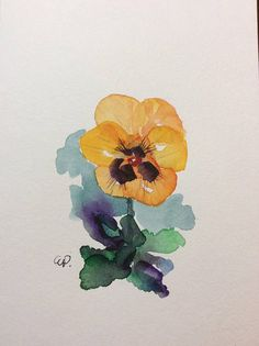 Yellow Pansy Watercolor Card / Hand Painted Watercolor Card A taste of Spring and Summer!! This card is an original watercolor. This card is painted on heavy card stock. The card is 5x7 and blank inside. Comes with a matching envelope in a protective sleeve.