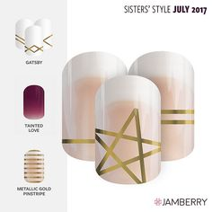 "Say Hello to Jamberry's Sister Style Exclusive for July 2017 ""Star Something New"" and make it one for the books with July's Sisters' Style wrap. This design features golden stars and stripes that is perfect for mixing or layering. Try pairing it with ""Gatsby"", ""Tainted Love"" and/or ""Metallic Gold Stripe""."