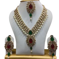 Jewelry & Watches Bright Indian Women Traditional Wedding Party Jewelry Goldplated 4pc Necklace Set