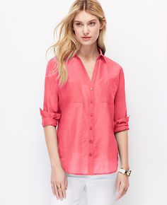 Two Pocket Button Down Shirt. Love light and breezy button downs. Love this color.