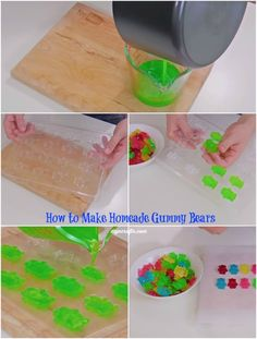 Homemade Gummy Bears Recipe - You'd Never Guess how Easy it is to Make Your Very Own Gummy Bears Homemade Gummy Bears, Homemade Candies, Homemade Gummies, Making Gummy Bears, Yummy Treats, Sweet Treats, Yummy Food, Gelatina Jello, Sweet Recipes