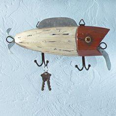 Great Cabin Man Cave Fishing Decor Hat Key Rack ~New at Critter Creek Ranch