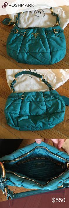 Prada turquoise quilted shoulder bag! Prada turquoise quilted shoulder bag! Prada Bags Shoulder Bags