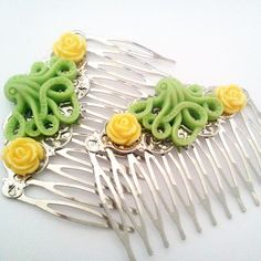 Lime Green Lemon Yellow Octopus Hair Combs by glamasaurus on Etsy, $15.00