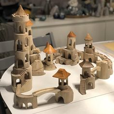 Castle Rock, Wooden Castle, Wooden Tree, Wooden Building Blocks, Wooden Blocks, Wood Crafts, Diy And Crafts, Crafts For Kids, Papercraft Anime