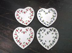 William Sonoma La Framboise Chene Heart-shaped Appetizer Plates 7  x 6- & J Willfred Charles Sadek Sweet Hearts Heart-Shaped Plates Multi ...