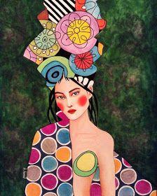 Por amor al arte: Hülya Özdemir Art And Illustration, Watercolor Illustration, Watercolor Art, Arte Pop, Figurative Kunst, Portrait Art, Female Art, Art Images, Collage Art