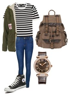 """""""School"""" by emma-martin123 on Polyvore featuring DKNY, Topshop, Ally Fashion, Converse, Wilsons Leather, Chopard, women's clothing, women's fashion, women and female"""