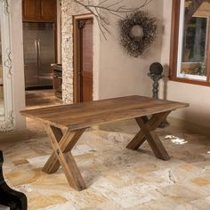 Travers Oak Wood Rectangle Dining Table (ONLY) by Christopher Knight Home