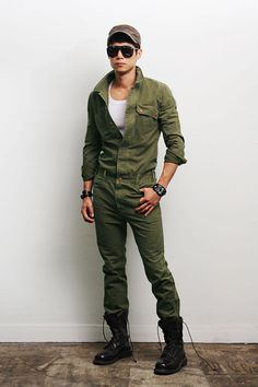 Mens Fashion Military Look Khaki One Piece Jumpsuit Overall Jean Gentlershop | eBay