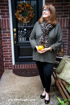 Pamela from Over 50 Feeling 40 is ready to transition into fall with her J.Jill Yorkshire pullover and ankle-length leggings.