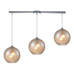 31380/3L-CMP | Watersphere 3 Light Pendant In Polished Chrome And Champagne Glass - 31380/3L-CMP